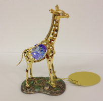 Giraffe with Coloured Swarovski Crystal 24k Gold Plated & Silver Plated